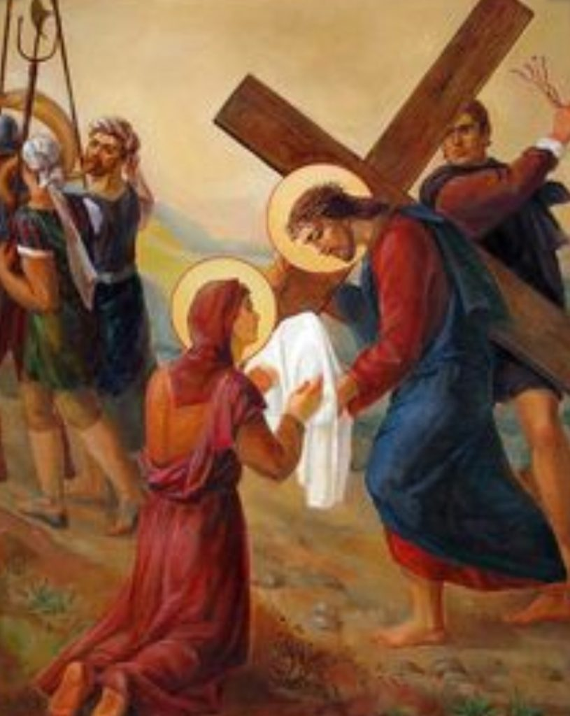 Woman Offers Cloth to Jesus Carrying the Cross